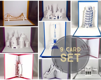 Pop Up Architecture Cards Pop Up Cards Pop Up Card Set Architectural Cards Adventure Card Travel Card London Card (9 Card Set)