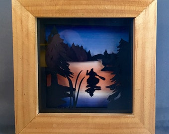 Canoe Art Papercutting Shadow Box Artwork w/ Sunset Sky 1st Anniversary Gift | Canoe Artwork | Lake Artwork | Canoe Art Nature Inspired