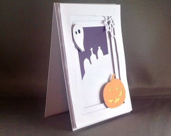 Spooky Jackolantern with Halloween Ghost and Scary Halloween Night Fancy Handmade Cards | Trick or Treaters | Spider Web | Jack o Lanterns