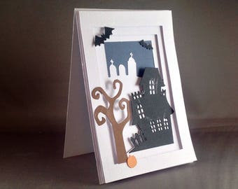 Spooky Halloween Haunted House with Creepy Halloween Bat and Pumpkin Happy Halloween Cards | Halloween Spooky | Trick or Treaters Pop Up