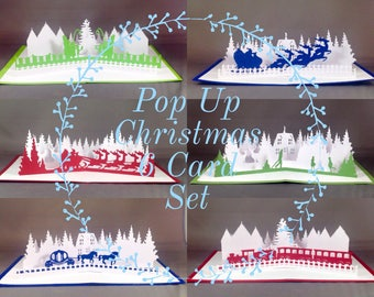 Pop Up Merry Christmas Card Set featuring Merry Christmas Cards (6 Pack)