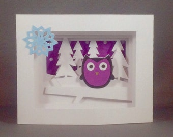Cute Owl with Snowflake Nature Inspired Shadow Box Card for Her | Thinking of You Owl Birthday Card for Mom Non Religious Holiday Card 2017