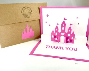 Princess Castle Thank You Pop Up Card ~ 3D Fairy Tale Castle Gratitude Greeting ~ Birthday Party Appreciation Card ~ Kirigami Paper Art