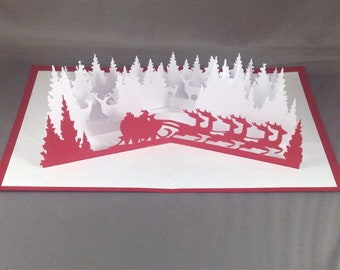 Santa's Sleigh Pop Up Card ~ 3D Christmas Sleigh Greeting ~ Holiday Greeting Card ~ Winter Birthday Card ~ Xmas Party Invitations ~ Kirigami