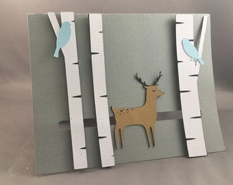 Winter Deer Pop Up Card with Motion ~ 3D Christmas Greeting ~ Happy Holidays ~ December Birthday ~ Movable Wildlife Forest Card ~ Kirigami