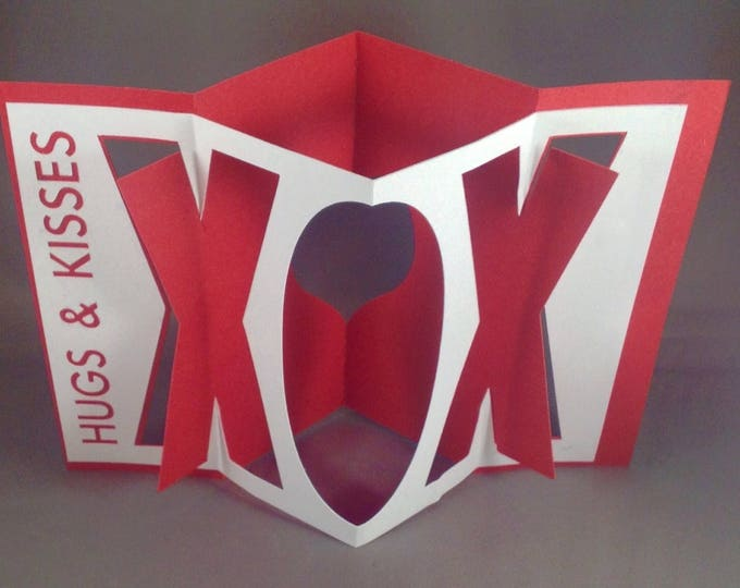 Featured listing image: Kirigami Hugs and Kisses Accordion Card with XOXO Pop Up Valentines Day Cards | Funny Valentine Card | I Love You Card Cute Valentines Card