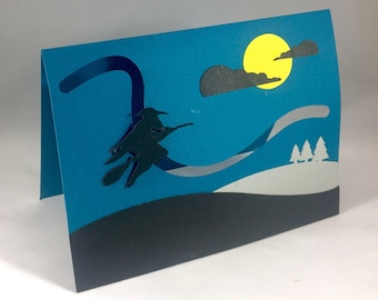 Halloween Witch Pop Up Card with Motion ~ 3D Spooky Funny Halloween Greeting Card ~ Kids Trick or Treat Cards ~ Scary Handmade Paper Art