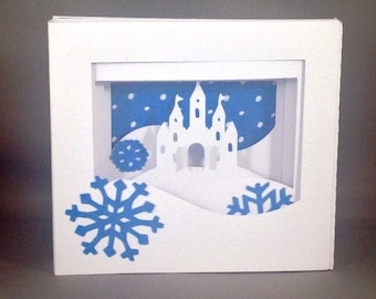 Winter Princess Castle Shadow Box Pop Up Card ~ Christmas Greeting Card ~ Snowy Fairy Tale Card ~ December Birthday Card ~ Kirigami Card