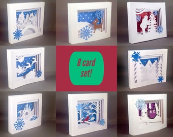 8 Pack Unique Holiday Cards Set, Christmas Card Pack Christmas Cards Pack, Christmas Pop Up Cards Christmas Card Set, Pop Up Christmas Cards