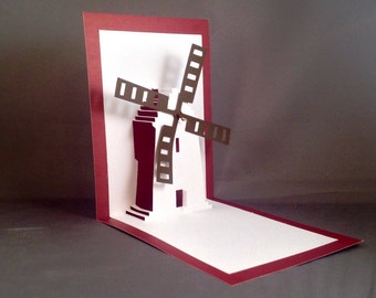 Moveable Card w/ Windmill Wall Art | 3D Card | pop up cards | Just Because kirigami windmill wall Decor paper cut card | Miss You Card