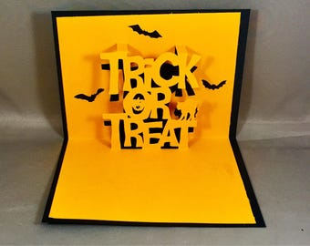 Trick or Treat Halloween Pop Up Card Blank Happy Halloween Card Handmade Halloween Cards Cute Halloween Cards for Kids Funny Halloween Card