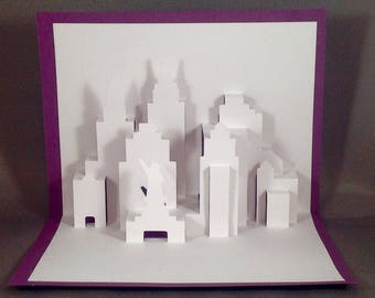 New York Skyline New York Cards with Statue of Liberty Pop Up Cards, NYC Skyline, New York City Cards, NYC Greeting Card, New York Cityscape