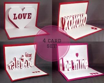 Pop Up Valentine Card Set (4 Cards) Valentines Card Set Valentines Card Pack Blank Valentine Card Cute Valentine Set Valentines Day Card