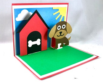 Dog Pop Up Card ~ Puppy Birthday Greeting ~ Appreciation Gratitude Card ~ Thank You Note ~ Doghouse Sorry ~ Just Because Card ~ Kirigami