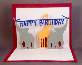 Pop Up Birthday Cards Pop Up Cards Kids Birthday Card, Elephant Birthday Popup Card, 3D Birthday Card, Circus Birthday, Carnival Birthday
