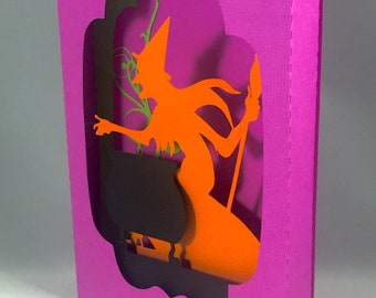 Witch Shadow Box Pop Up Card ~ 3D Happy Halloween Greeting ~ Spooky Scary Party Invitation ~ October Birthday ~ Toil and Trouble ~ Kirigami