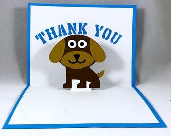 Dog Thank You Card ~ Puppy Appreciation Recognition Greeting ~ Gratitude Note ~ Thank You Gift Note ~ Fun Cards for Kids ~ Kirigami