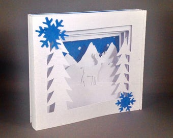 Winter Deer Shadow Box Pop Up Card ~ Christmas Greeting Card ~ December Birthday Card ~ Xmas Party Invitation ~ Kirigami Friendship Card