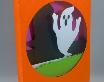 Ghost and Graveyard Shadow Box Pop Up Card ~ 3D Spooky Headstone Greeting ~ Haunted October Birthday ~ Hallows Eve Party Invitation