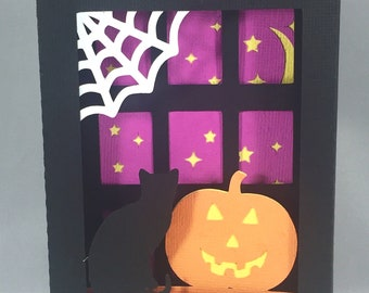 Spooky Halloween Window Shadow Box Pop Up Card ~ 3D October Wishes ~ Scary Hallows Eve Card ~ Cat Web Jack o Lantern Greeting ~ Kirigami
