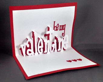 Kirigami Be My Valentine Pop Up Valentines Day Cards for Husband | Funny Valentines Card | I Love You Card for Wife Cute Valentines Cards