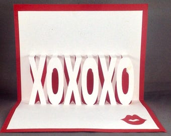 Pop Up Love Card for Him Kirigami Hugs and Kisses Card, XOXO Card, Anniversary Card, 3D Love Card, Heart Card, Kiss Card, Valentines Card