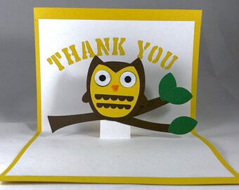 Owl Thank You Pop Up Thank You Cards Owl Thank you Cards Owl Birthday Thank You Owl Part Owl Card Owl Birthday Party Owl Thank You Note