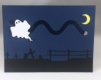 Halloween Flying Ghost Pop Up Card with Motion ~ 3D Spooky Funny Halloween Greeting Card ~ Kids Trick or Treat Cards ~ Scary Paper Art