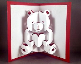 Teddy Bear Love Bear Valentine Card for Wife Pop Up Valentines Card for Boyfriend I Love You Card for Husband Valentines Day Love You Card