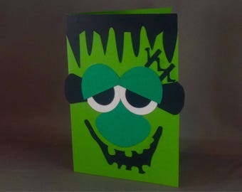 Frankenstein Halloween Card ~ Spooky Creepy Mummy Invitation ~ Funny Monster Paper Sculpture Art for Kids ~ Cute Kirigami Greeting