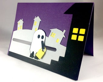 Halloween Ghost Pop Up Card with Motion ~ 3D Spooky Funny Halloween Greeting Card ~ Kids Trick or Treat Cards ~ Scary Handmade Paper Art