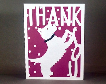 Scottish Terrier Thank You Card ~ Puppy Appreciation Recognition Greeting ~ Scottie Dog Gratitude Note ~ Thank You Gift Note ~ Kirigami