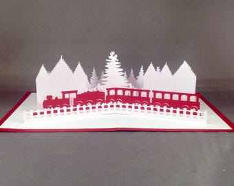 Pop Up Christmas Cards with Christmas Train