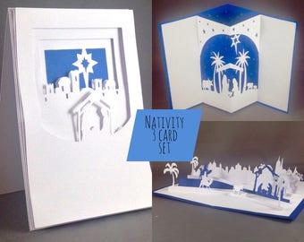Set of 3 Christmas Cards Pack Manger Scene Christmas Nativity Cards, Nativity Scene Christian Gift, Christmas Card Pack, Christmas Card Set