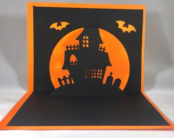 Spooky Haunted House Pop Up Card ~ 3D Halloween Greeting Card ~ Trick or Treat Party Invitiation ~ Scary October Graveyard Bats ~ Kirigami