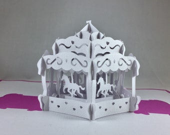 Kirigami 3D Birthday Cards for Her Pop Up Cards Horse Carousel Birthday Carousel Card Kids Birthday Card Pop Up Birthday Card for Mom