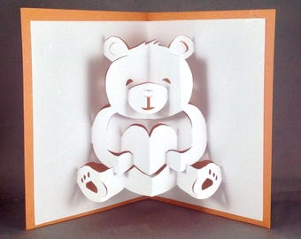 Pop Up Teddy Bear Card | Cute Bear Card | I Love You Card | Cute Love Card | Anniversary Card | Kirigami Valentines Day Card Friendship Card