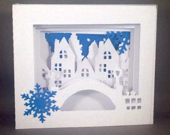 Winter Village Shadow Box Pop Up Card ~ Christmas Greeting Card ~ Snowy Bridge Card ~ December Birthday Card ~ Kirigami Friendship Card