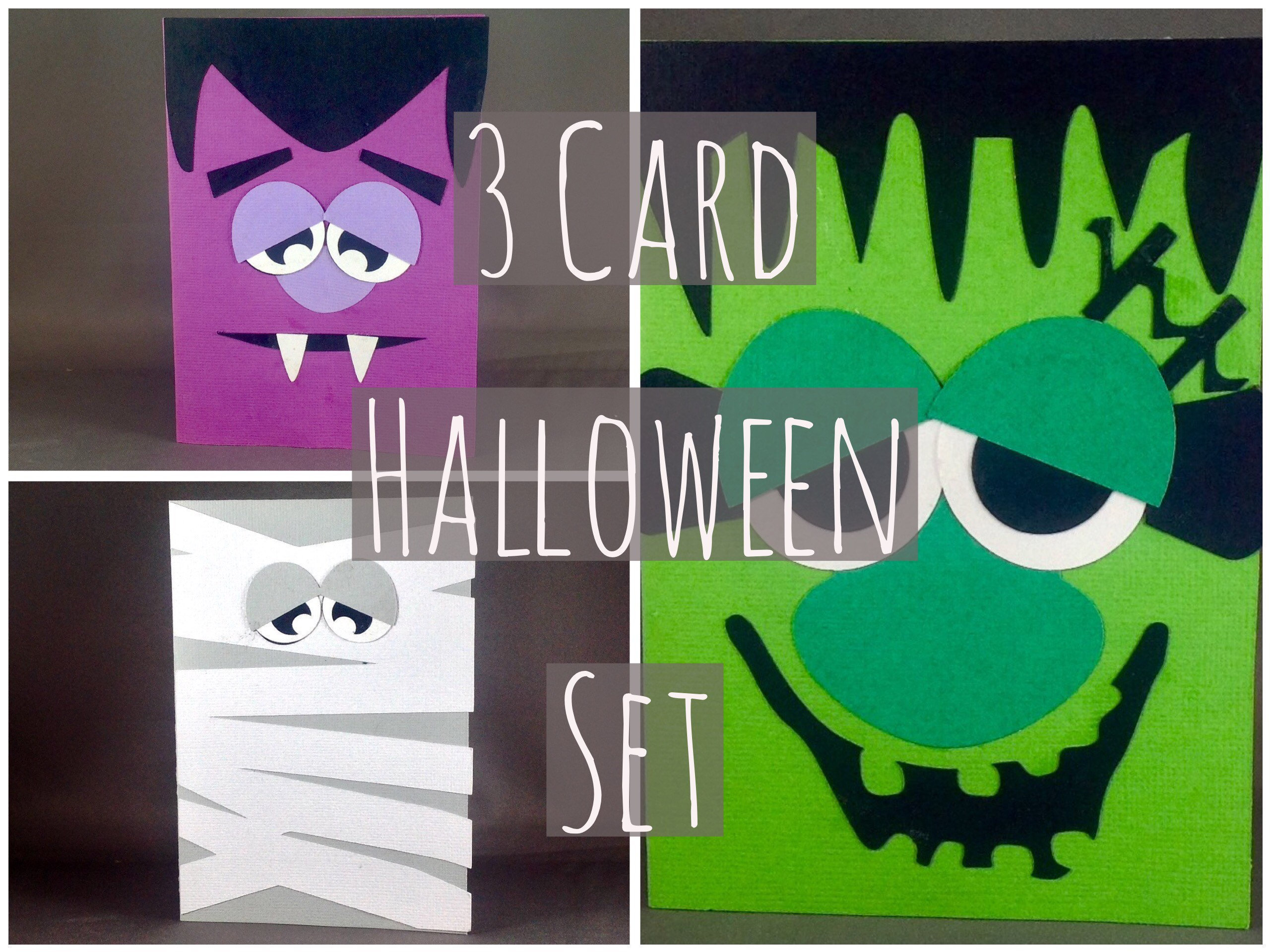 Happy Halloween Card Set Monster Card Frankenstein Mummy Dracula
