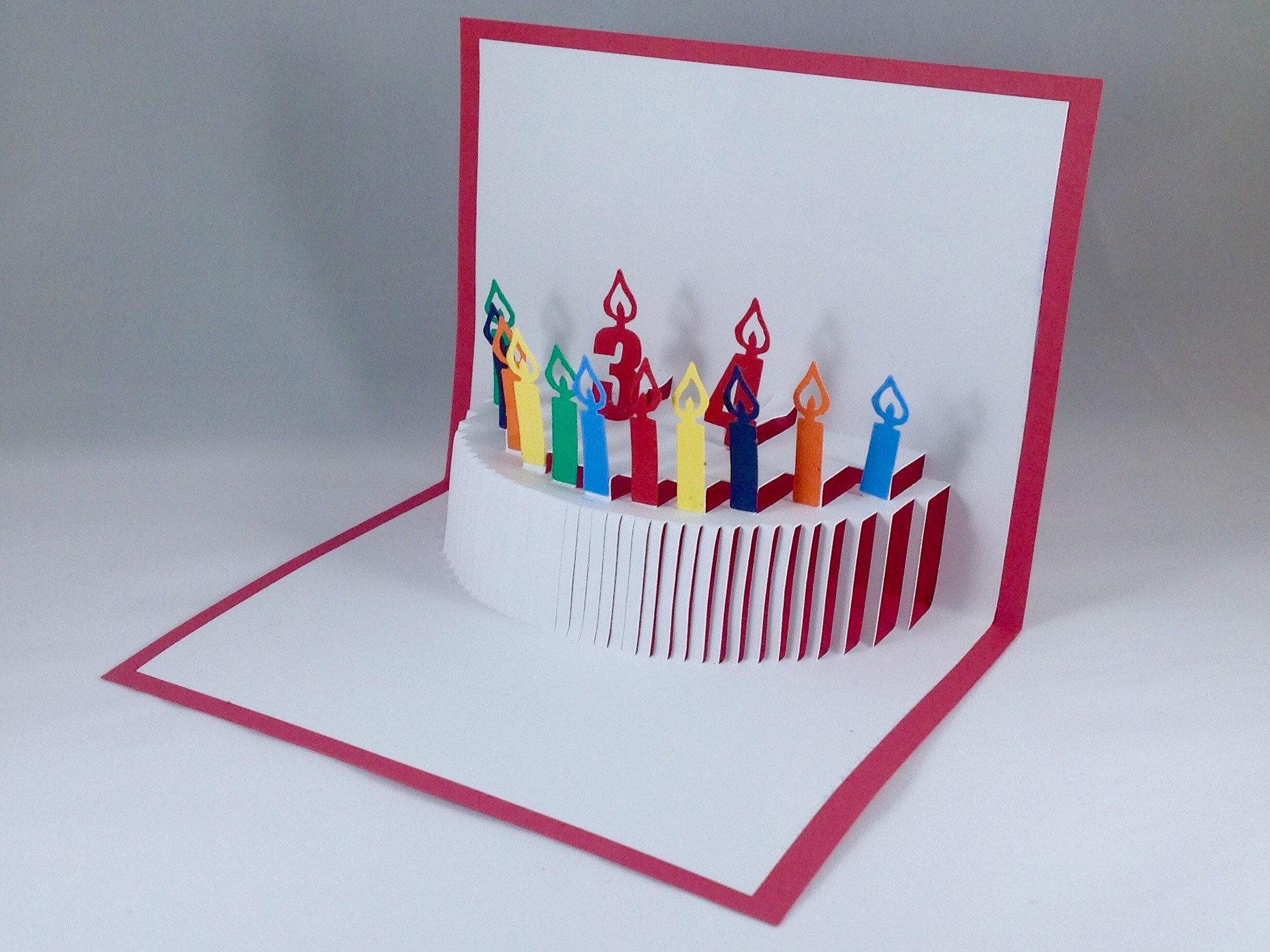 Custom Birthday Cards With Birthday Cake Pop Up Birthday Card