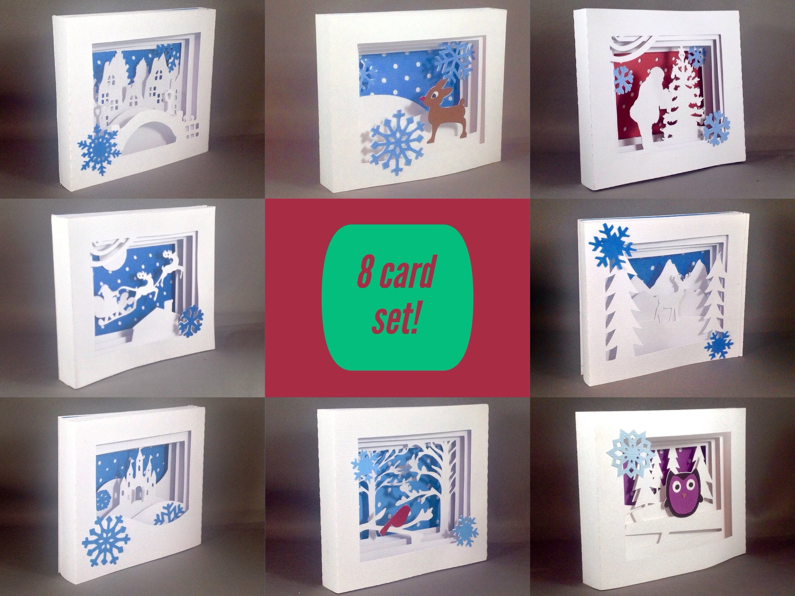 8 Pack Unique Holiday Cards Set Christmas Card Pack Christmas Cards