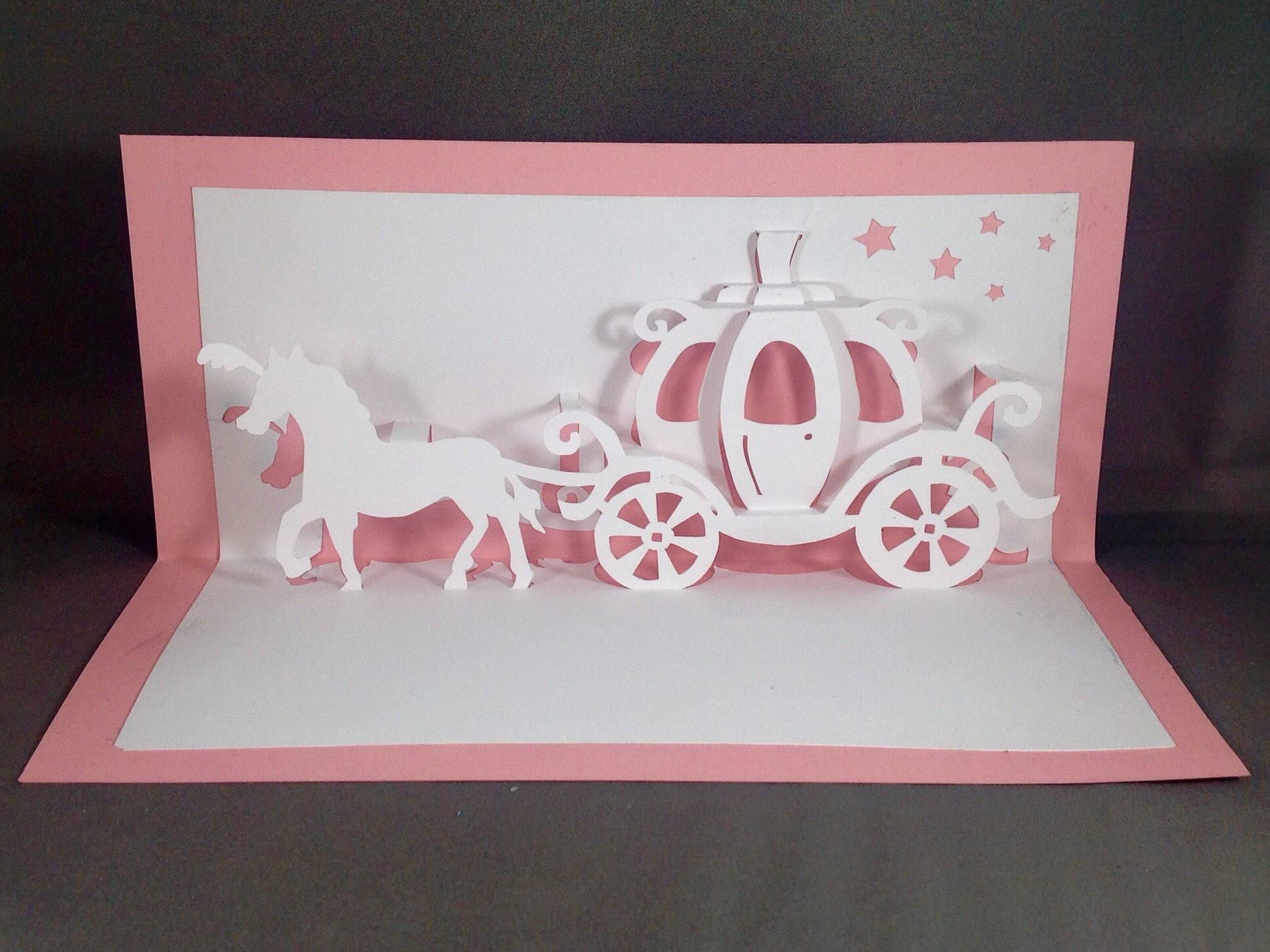 Cinderella Carriage Card w Pop Up Cards Wedding Carriage
