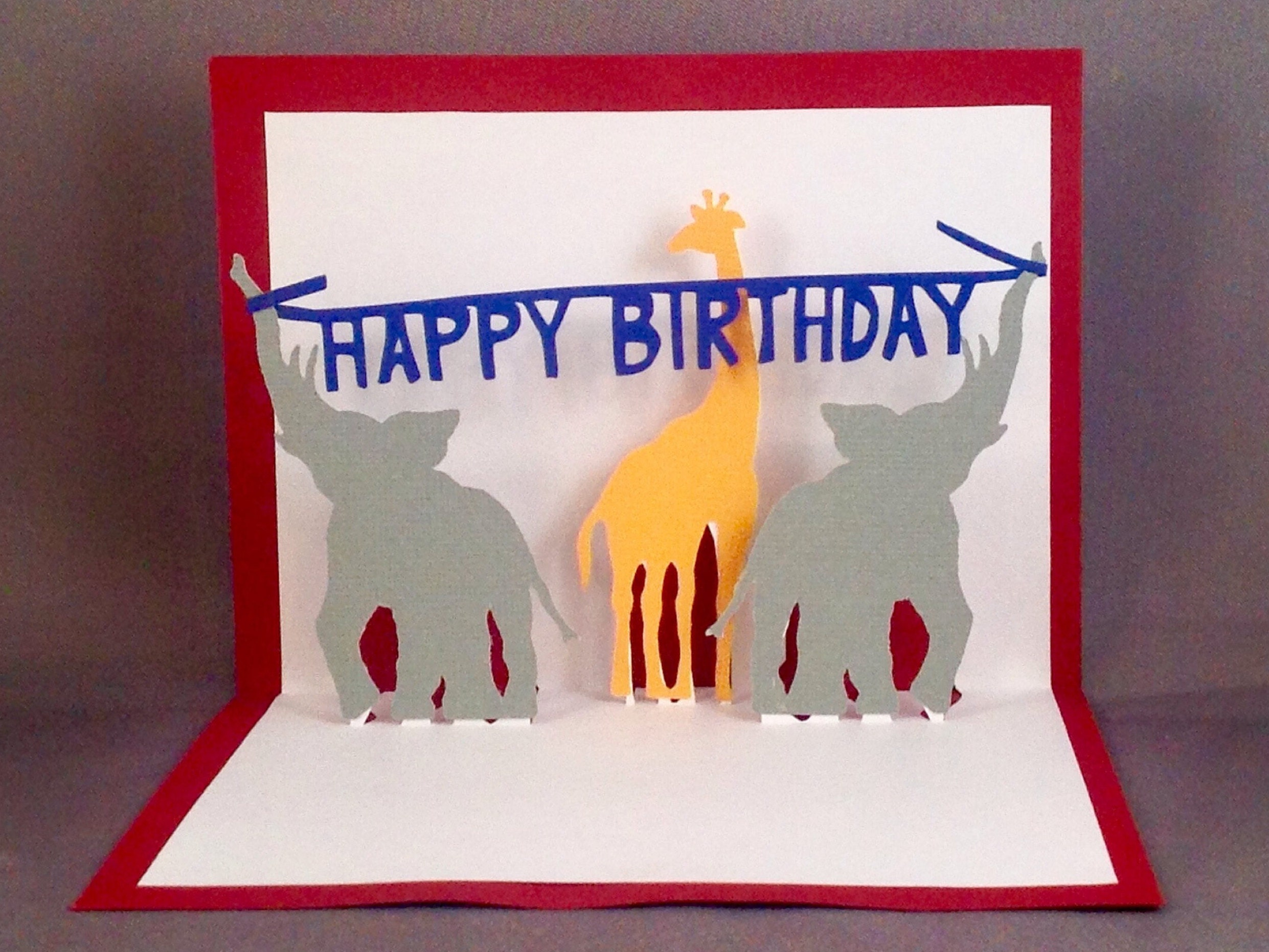 Pop Up Birthday Cards Kids Card Elephant Popup 3D Circus Carnival