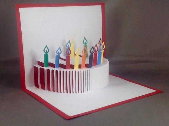 3d Birthday Card Pop Up Birthday Cake Card Pop Up Birthday Etsy