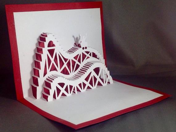 Kirigami 3d Birthday Cards Roller Coaster Cards Pop Up