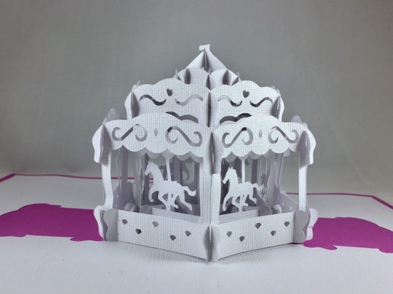 Kirigami 3d Birthday Cards For Her Pop Up Cards Horse Carousel Etsy