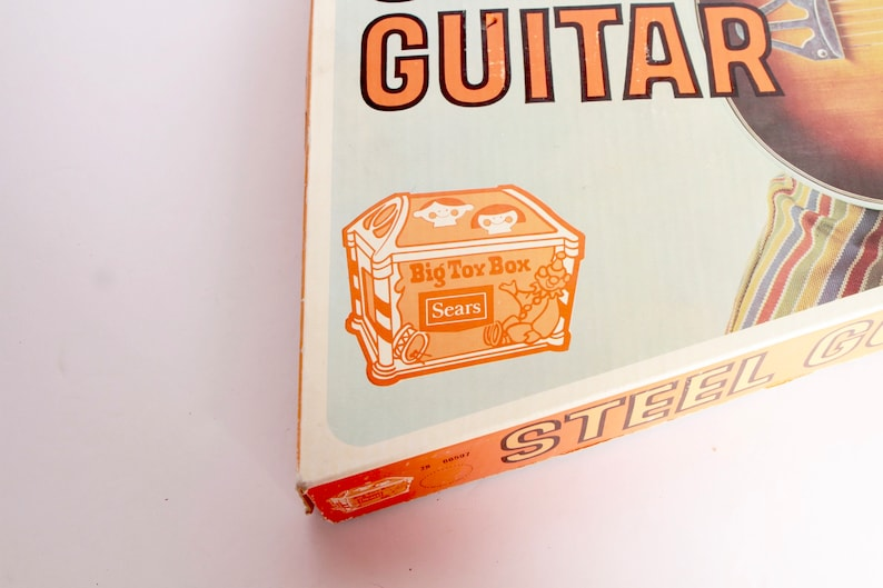 MID-CENTURY kid/'s vintage STEEL guitar Sears Big Toy Box sounds awesome!