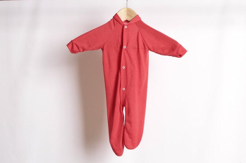 e5faab944 Vintage NEWBORN baby red full body onesie bodysuit jumper RED | Etsy