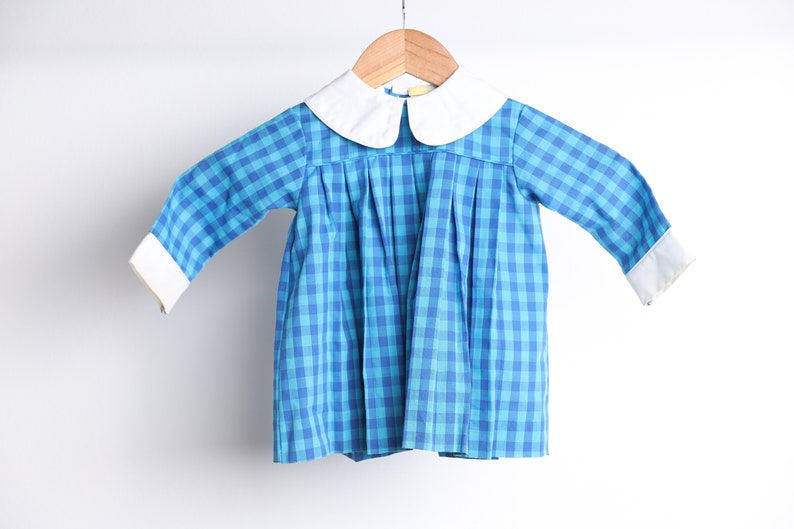 vintage BLUE on blue mid-century kids DRESS plaid with white contrast collar 1950s 60s dress size 12 months