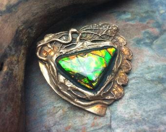 Vivid Ammolite Artisan Bronze PMC Pendant
